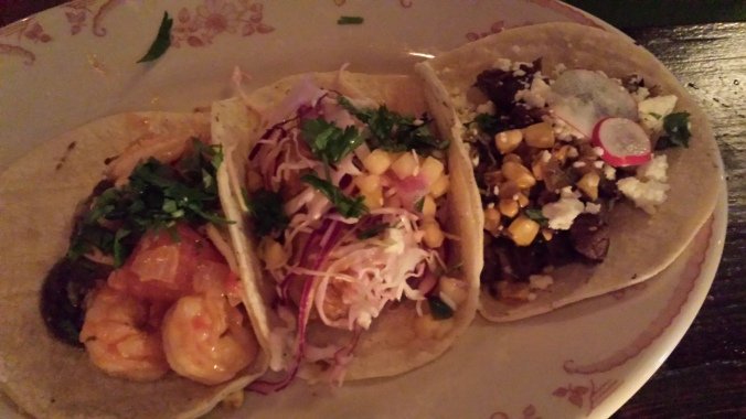 From Left: El Camino's shrimp taco, crispy fish taco, and carne asada taco.