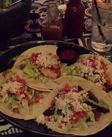 Rocco's Tacos with fish and carne asada.
