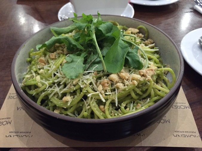 Cafe Morena's spaghetti with pesto.