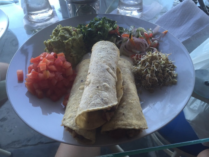 Vegetarian burritos at Dawn on the Amazon cafe in Iquitos.