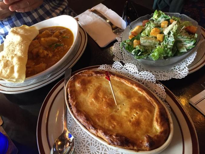 The Madras Curry (left) and Steak & Guinness Pie.